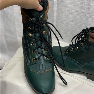 Laredo Green Leather Lace Up Boots